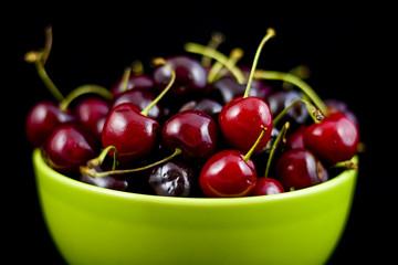Freshly picked red bing cherries in bowl