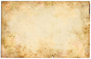 Old mottled paper with grungy stains.