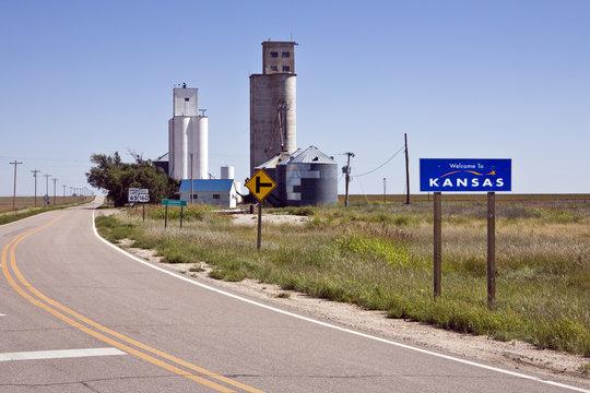 U.S. Highway 160 near grain elevators in  Kansas