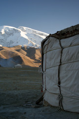 yurt at the feet of the himalaya