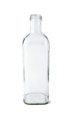 Tall empty glass bottle on white background