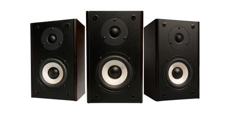 three stereo speaker on white background