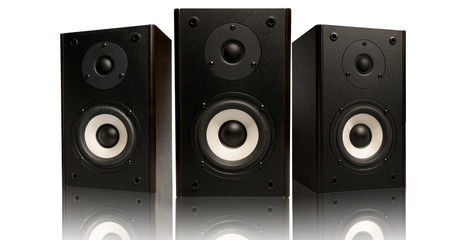 three stereo speaker on white background