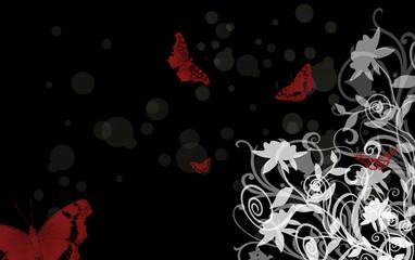 Roses blanches sur fond noir et papillons rouges