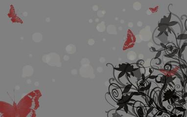 Roses noires sur fond gris et papillons rouges