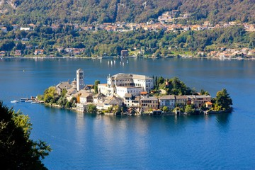 Garden Poster Lake Orta San Giulio island and lake in Northern Italy