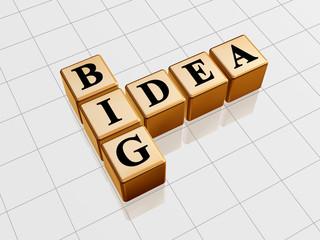 3d golden boxes with black letters, text - big idea, crossword