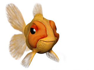 A cartoon goldfish looking very happy and content.