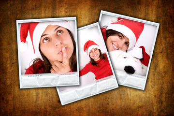 three photo frames with christmas images over grunge background