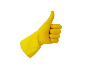 Thumb up with a yellow glove