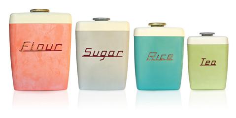 Retro 1950's kitchen storage canisters