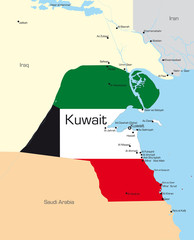map of Kuwait country colored by national flag