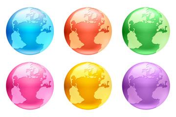 カラーボタン地球