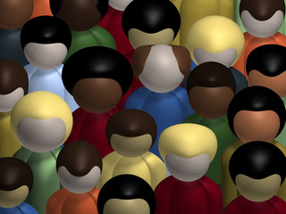 Aerial view of a diverse, multiracial crowd of people.