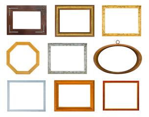 Collection of frames isolated on white background