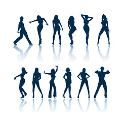 Dancing people vector silhouettes
