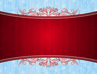 red background with decorative ornaments