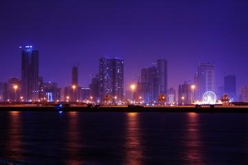 sharjah at night, united arab emirates