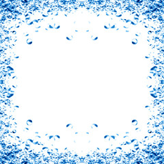 Water bubbles in a frame on a white background