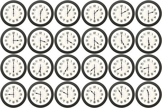 24 clock avery half hour isolated on white background