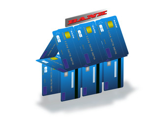 Unstable economy illustration with banks build on credit card.