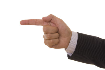 A male hand pointing with his finger
