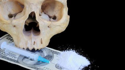 narcomania concept - skull, dollars, syringe, heroin