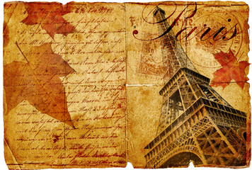 Fotomurales - autumn in Paris- vintage letter