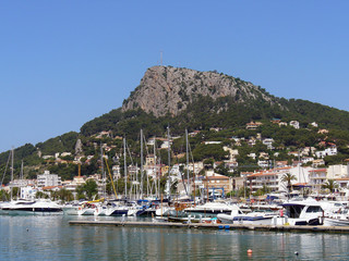 Yachts moored in Spanish harbour on the Costa Blanca