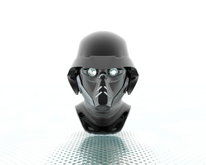 3d soldiers in a gas mask