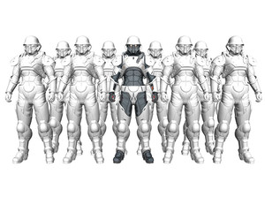 3d soldiers in a gas mask in commission