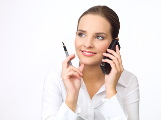Portrait of beautiful and young business woman using cell phone