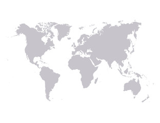 Vector world map isolated over a white background