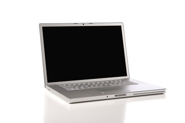 a new silver, aluminum laptop computer