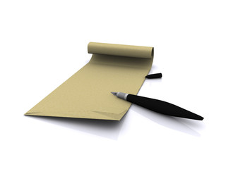 letter and pen. 3D