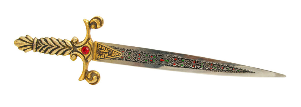 Sword short with ornaments on white background