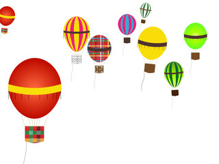 Multicolor multiple shapes hot air balloons flying
