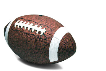 An American football ready for sports action.