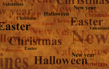 Grunge background with names of the holidays