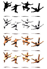 Dancer Jump silhouette various poses