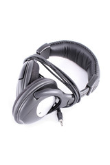headphones isolated black background, with cable, packshot
