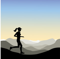 A Woman jogging in the Mountains