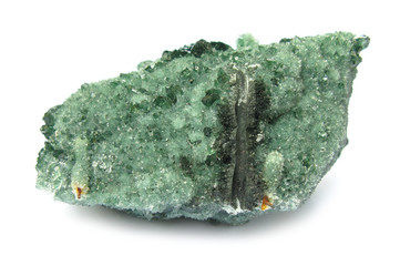 Atacamite green mineral stone on white