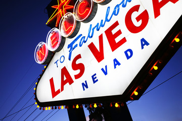 Welcome to Las Vegas sign close-up. Las Vegas, Nevada, USA
