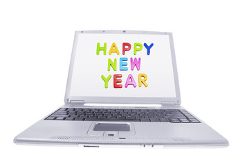 Computer Laptop with New Year Greetings