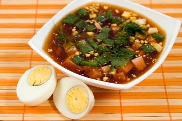 vegetable soup and hard-boiled egg