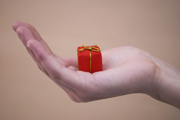 Red gift on woman hand