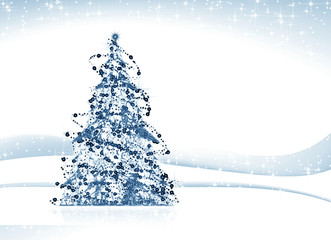 Decorated  christmas tree shining , illustration,