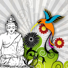 Illustration Buddha mit Kolibri