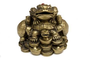 Feng Shui Bronze Frog On Chinese Coins..Isolated on white